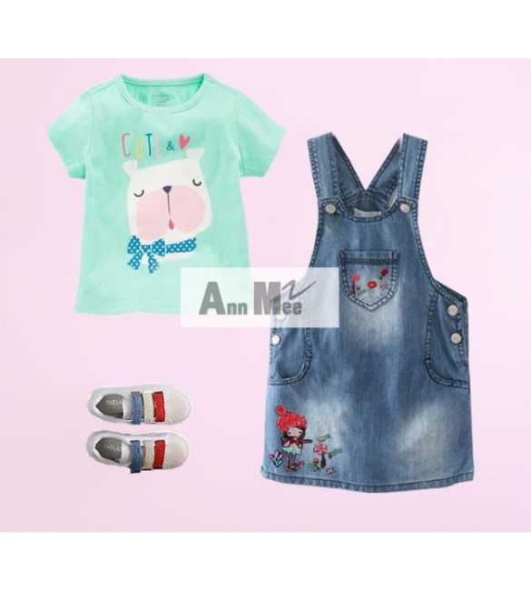 Set Girl Ann Mee Dress Overall Cute Dog (MED SIZE)